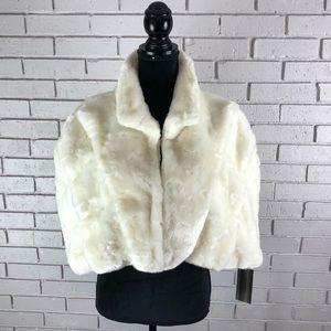 Tahari ASL Women's White Faux Fur Cape Size L